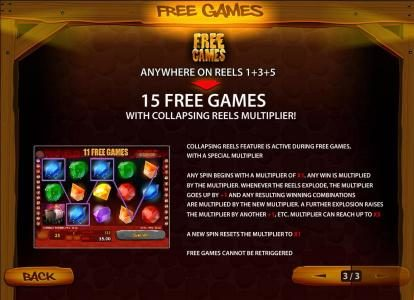 free games anywhere on reels 1+3+5 triggers 15 free games