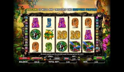 Lucky Bets featuring the Video Slots Hot Hot Valcano with a maximum payout of 500x