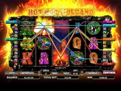 Money Storm featuring the Video Slots Hot Hot Volcano with a maximum payout of $1,000