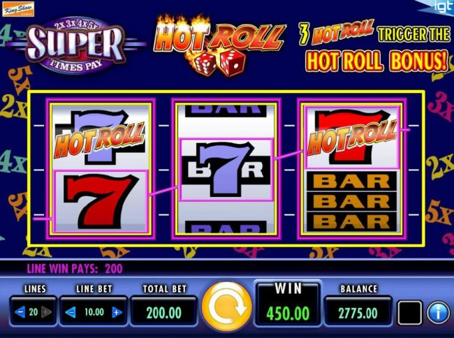 Casino Club featuring the Video Slots Hot Roll Super Times Pay with a maximum payout of $250,000