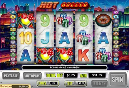 Red Stag featuring the Video Slots Hot Roller with a maximum payout of $100,000