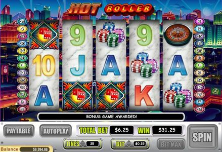 Liberty Slots featuring the Video Slots Hot Roller with a maximum payout of $100,000