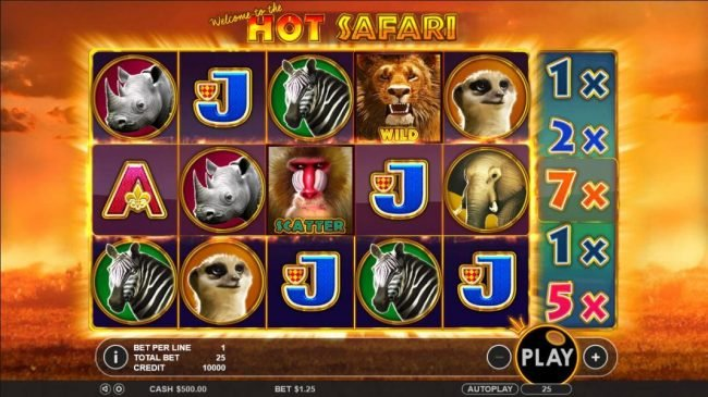 Hot Safari :: Main game board featuring five reels and 25 paylines with a $2,000 max payout