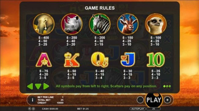 Hot Safari :: Slot game symbols paytable - All symbols pay from left-to-right. Scatter pays on any position