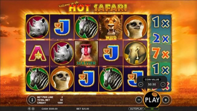 Vive Mon Casino featuring the Video Slots Hot Safari with a maximum payout of $2,000