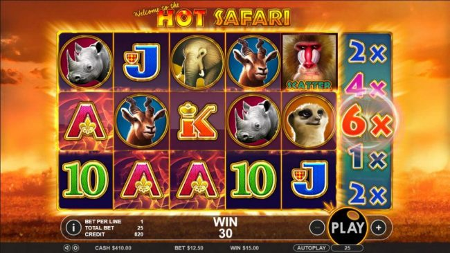 Hot Safari :: A three of a kind triggered with a 6x multiplier on the 6th reel.