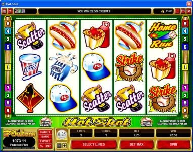 Spin Palace featuring the Video Slots Hot Shot with a maximum payout of $20,000