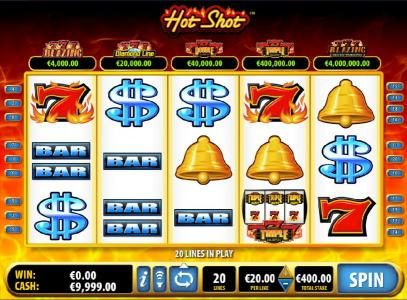 Play slots at CasinoCasino: CasinoCasino featuring the Video Slots Hot Shot with a maximum payout of $100,000
