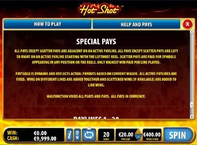 Secret Slots featuring the Video Slots Hot Shot with a maximum payout of $100,000
