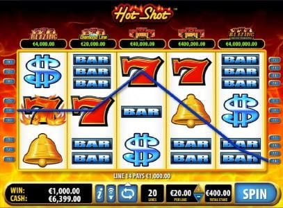 Videoslots featuring the Video Slots Hot Shot with a maximum payout of $100,000