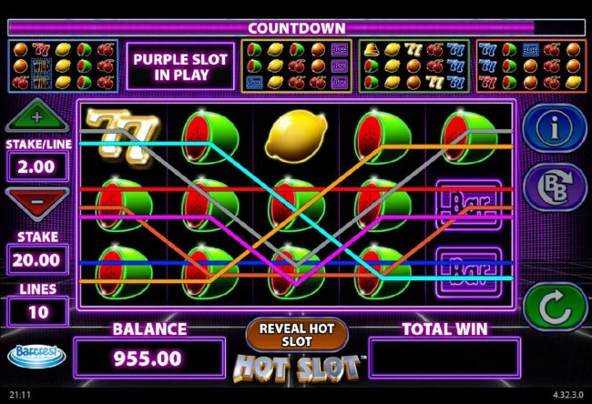 Secret Slots featuring the Video Slots Hot Slot with a maximum payout of $250,000