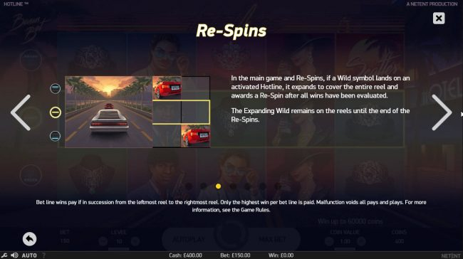 Betting Ways featuring the Video Slots Hotline with a maximum payout of $60,000