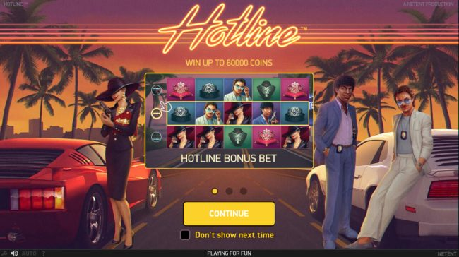 Casino Moons featuring the Video Slots Hotline with a maximum payout of $60,000