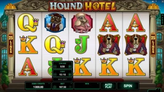 Yukon Gold featuring the Video Slots Hound Hotel with a maximum payout of $550,000