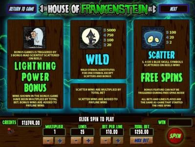 Mission 2 Game featuring the Video Slots House Of Frankenstein with a maximum payout of Jackpot