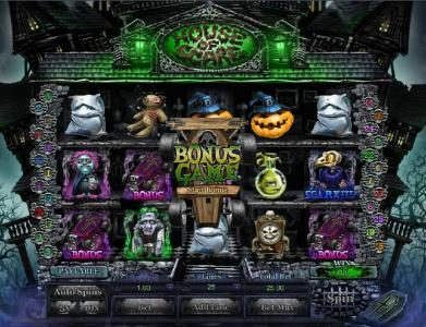 1BET featuring the Video Slots House of Scare with a maximum payout of $3,000