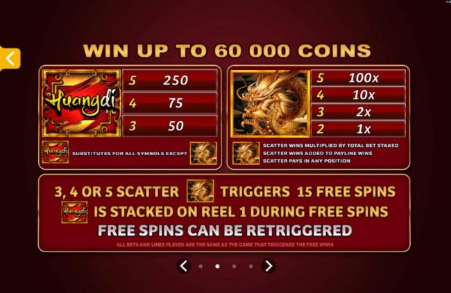 Casino Action featuring the Video Slots Huangdi The Yellow Emperor with a maximum payout of $300,000