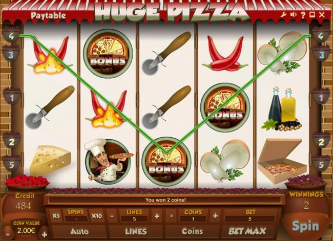 Tangiers featuring the Video Slots Huge Pizza with a maximum payout of $10,000