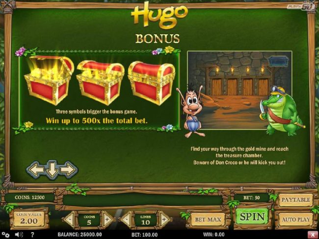 Wild Slots featuring the Video Slots Hugo with a maximum payout of $20,000