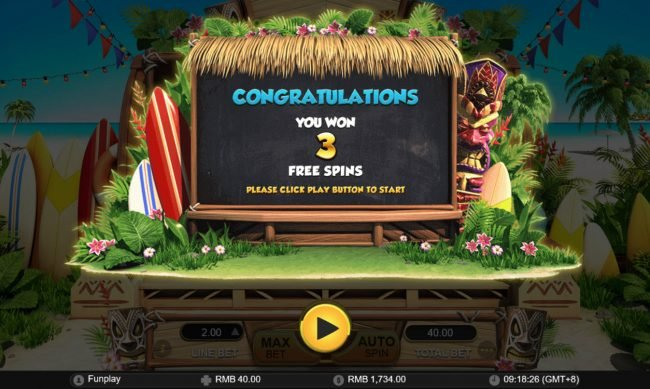 3 Free Spins Awarded