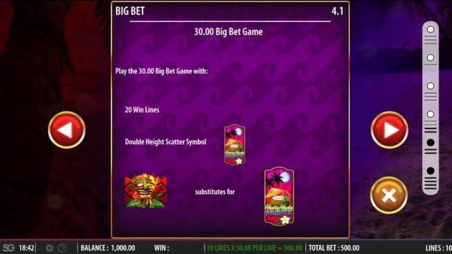 Queen Vegas featuring the Video Slots Hula Hula Nights with a maximum payout of $250,000