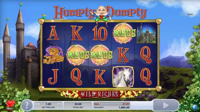 Lucky Me Slots featuring the Video Slots Humpty Dumpty Wild Riches with a maximum payout of $120,000