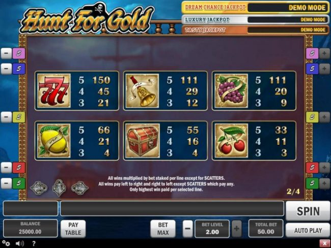 Casino Pop featuring the Video Slots Hunt for Gold with a maximum payout of $150,000