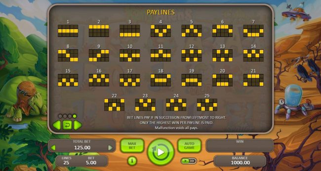 Hunting Party :: Payline Diagrams 1-20. Bet lines pay if in succession from left to right. Only highest win per payline paid.