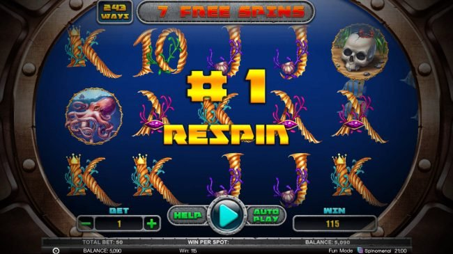 Hunting Treasures Deluxe :: Any win during the free spins feature triggers a respin