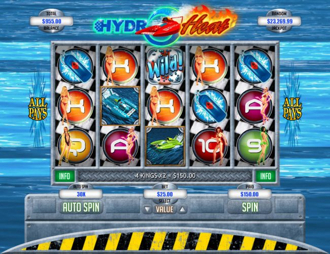 Club Player featuring the Video Slots Hydro Heat with a maximum payout of $12,500