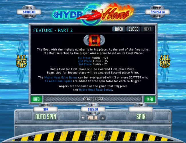 Cool Cat featuring the Video Slots Hydro Heat with a maximum payout of $12,500