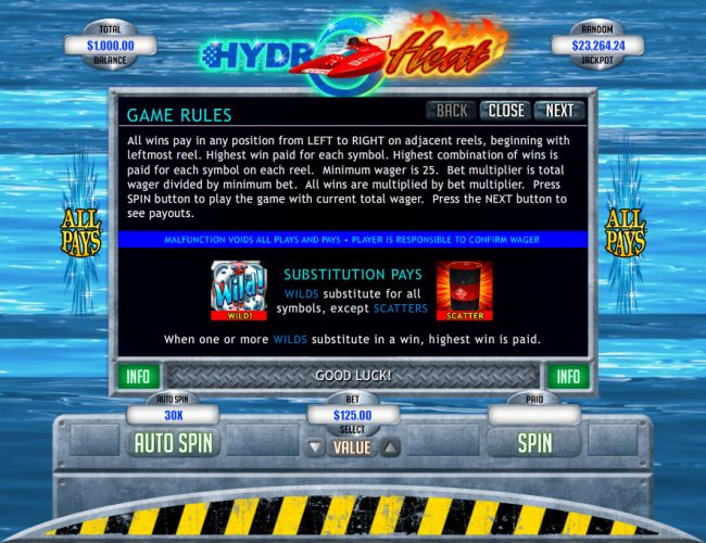 Fair Go featuring the Video Slots Hydro Heat with a maximum payout of $12,500