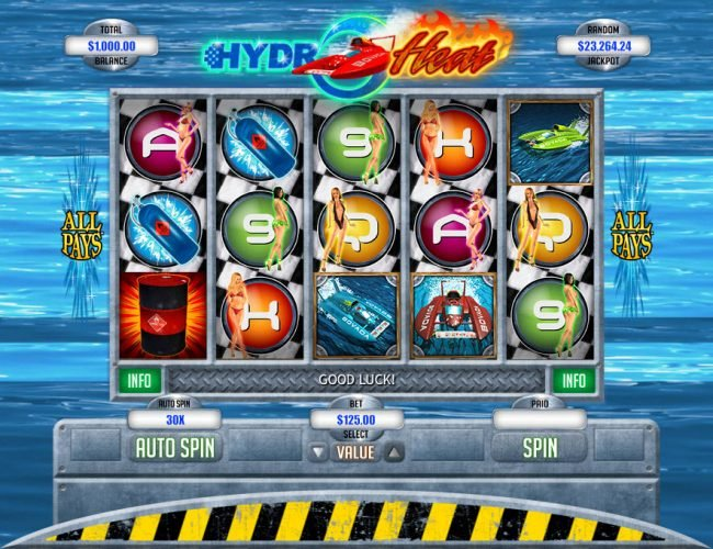 Play slots at Mr Play: Mr Play featuring the Video Slots Hydro Heat with a maximum payout of $12,500
