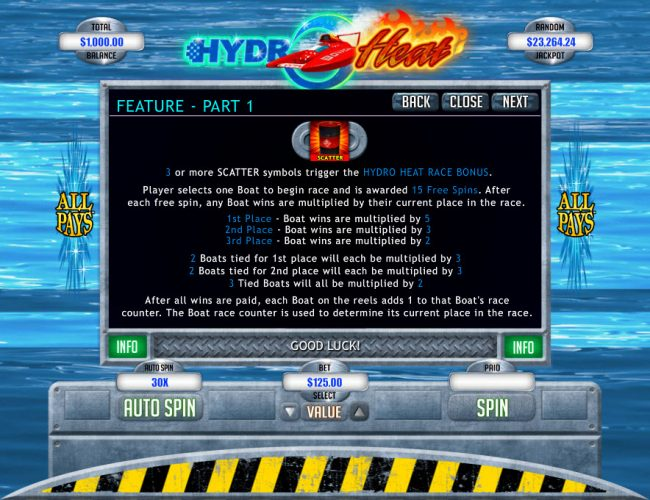 Club SA featuring the Video Slots Hydro Heat with a maximum payout of $12,500