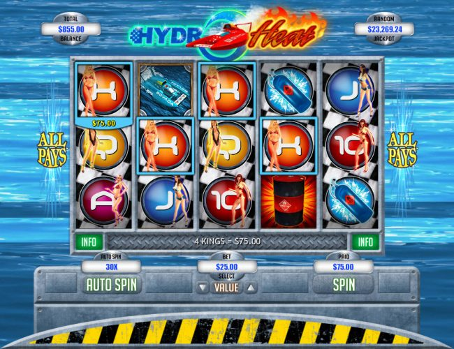 Slotnuts featuring the Video Slots Hydro Heat with a maximum payout of $12,500