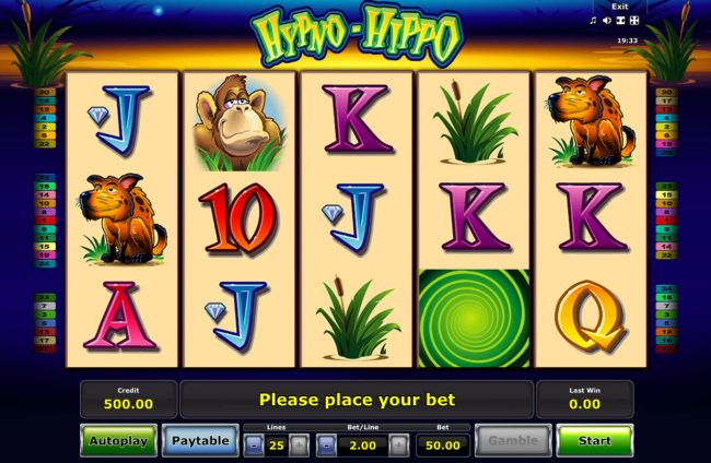 My Bet featuring the Video Slots Hypno-Hippo with a maximum payout of $25,000