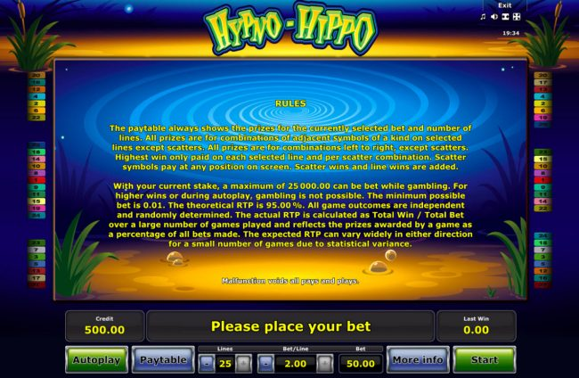 AC Casino featuring the Video Slots Hypno-Hippo with a maximum payout of $25,000