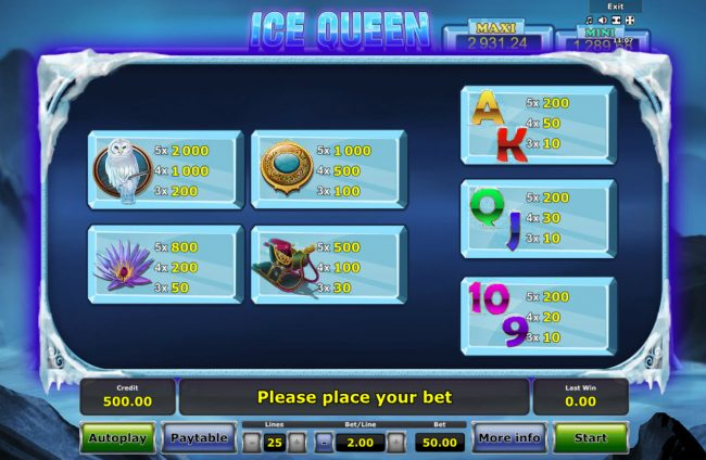 Ice Queen :: Paytable