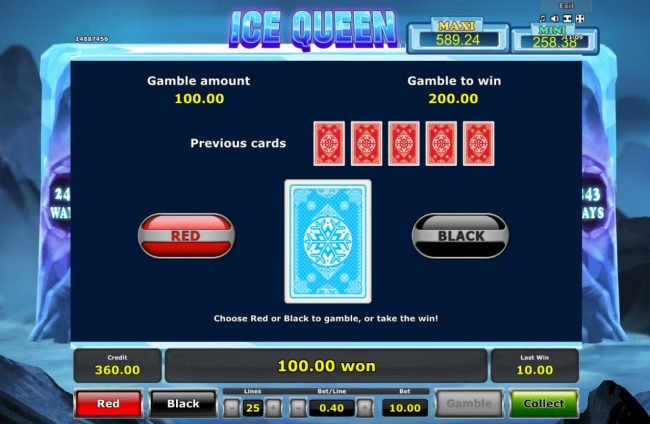 Ice Queen :: Red or Black Gamble feature