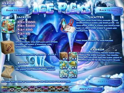 jackpot, wild, scatter, bonus and ice drop features game rules