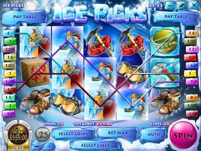 Desert Nights Rival featuring the Video Slots Ice Picks with a maximum payout of $22,500