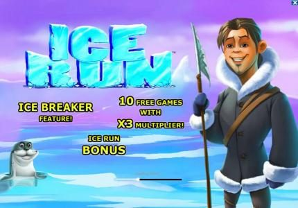 Ice Run :: features include - Ice Breaker, Ice Run Bonus and 10 free games with x3 multiplier!
