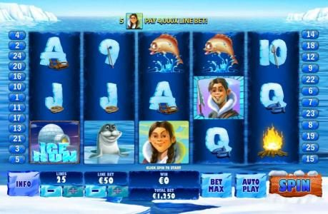 Ice Run :: Main game board featuring five reels and 25 paylines with a $200,000 max payout