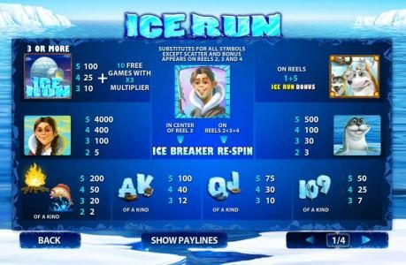 Ice Run :: Slot game symbols paytable. Eskimo girl is the highest value icon on the game board. A five of a kind pays 4000x