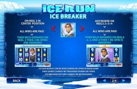 Ice Breaker on reel 3 in center position. All wins are paid, The wild expands on reel 3 the 2 respins are awarded.