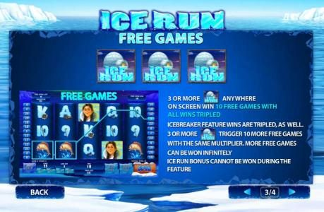 Ice Run :: Three or more igloo scatter symbols anywhere on screen win 10 free games with all wins tripled.