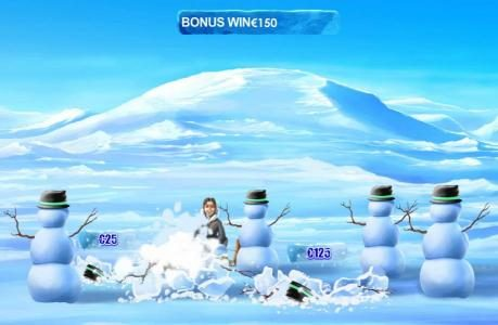 Ice Run :: Select a snowman to hit and reveal your prize award.