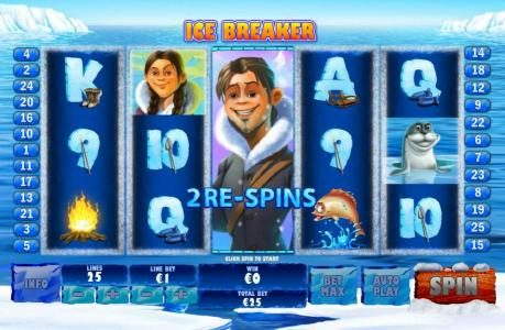 Ice Breaker feature triggered and 2 re-spins are awarded