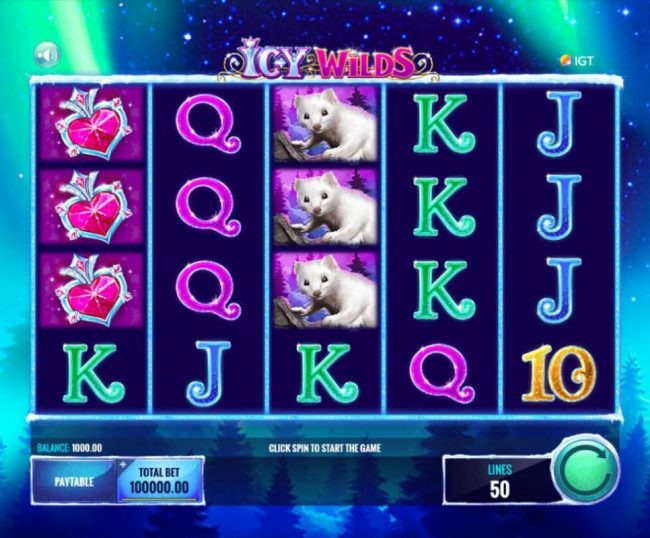 Betfair featuring the Video Slots Icy Wilds with a maximum payout of $25,000,000