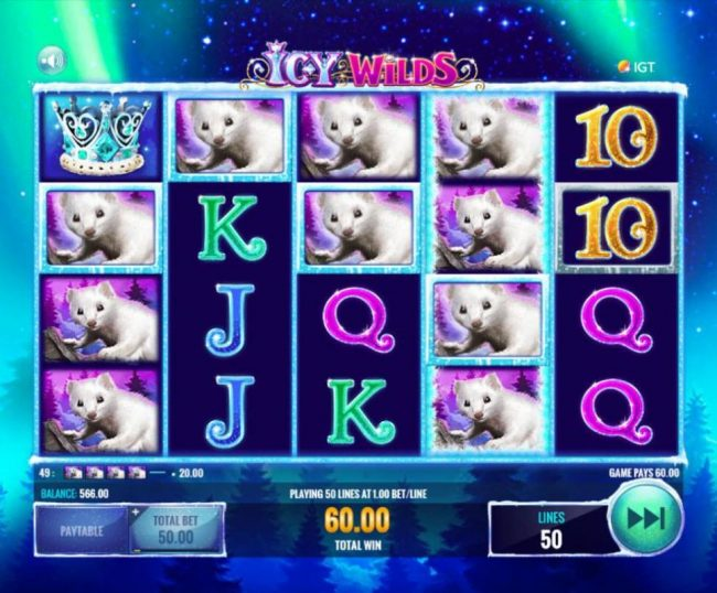 Play slots at Fika Casino: Fika Casino featuring the Video Slots Icy Wilds with a maximum payout of $25,000,000